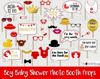 Boy baby shower photo booth props. Gold/red Printable. DIY baby shower bubble speech. Instant download. PDF Digital file. High resolution.