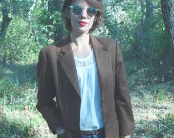 Vintage 90's Brown suit Blazer jacket wool