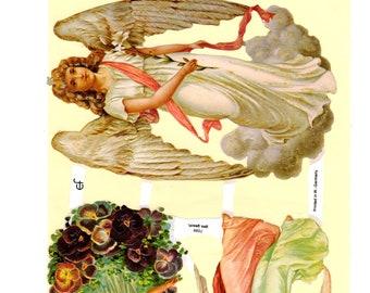 German Angels Victorian Die Cuts Embossed Scraps, Scrap Reliefs