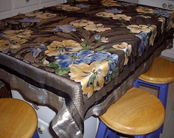 Vintage Tablecloth Throw Floral Woven Metallic Black Silver Blue Peach