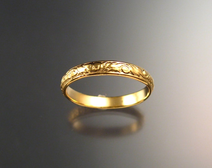 14k Yellow Gold wedding ring 3.25 mm Floral pattern Band ring made to order in your size Victorian wedding band