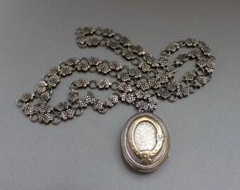 Victorian Silver Book Chain and Locket Necklace / Buckle Garter Belt / Wedding Necklace ETERNITY