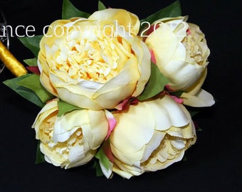 Artificial Pale Yellow Peony Bouquet /Bridesmaids Bouquet in Realtouch Peony, Silk Wedding Flowers