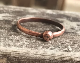 Simple Copper Ring / Rustic Stacking Ring / Hand Stamped Textured Ring / Thin Minimalist Jewelry / Dainty Ring