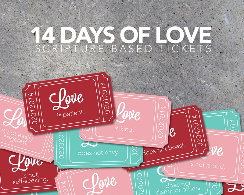 14 days of love scripture based tickets valentines day, Ideas