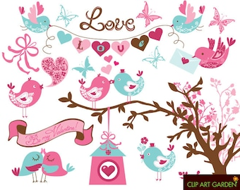 INSTANT DOWNLOAD Birdy digital Clipart Set for Valentine's Day, wedding.
