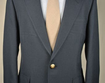 Hart Schaffner Marx 100% Worsted Wool Solid Navy Blue Two Button Blazer Men's Size: 38R