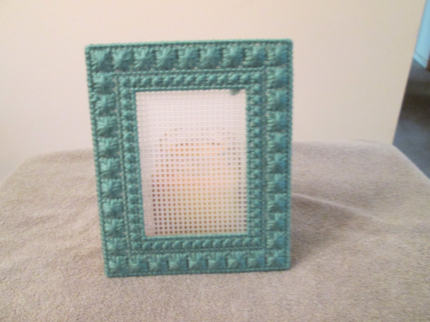 Photo Frame Sage 3X4 in plastic canvas from CraftsforSalebyJune on ...