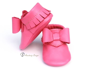 Posh Pink Baby Bow Moccasins, Baby Girl Moccasins, Toddler Moccasins, Baby Girl Shoes, Pink Shoes
