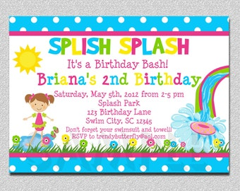 Pool Party Birthday Invitation,  Water slide Birthday Invitation, Splish Splash Invitation, Girls Pool Party Invitation, Girls Birthday I