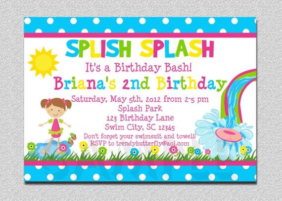 Pool Party Birthday Invitation Water Slide Birthday