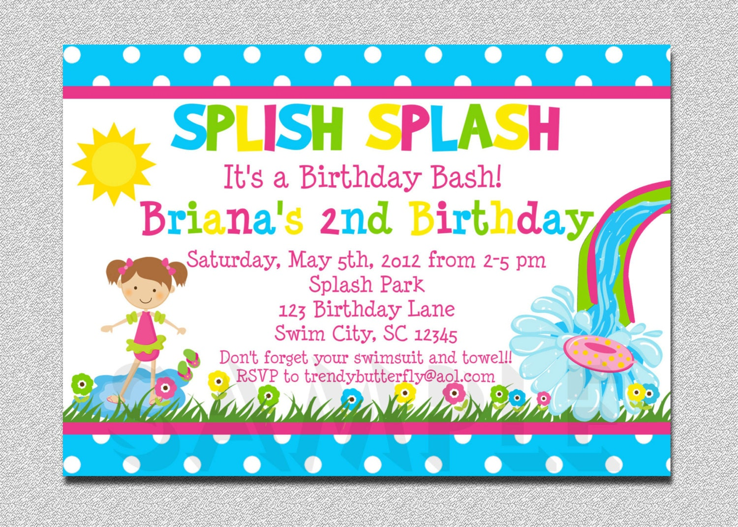Pool Party Birthday Invitation Water slide Birthday