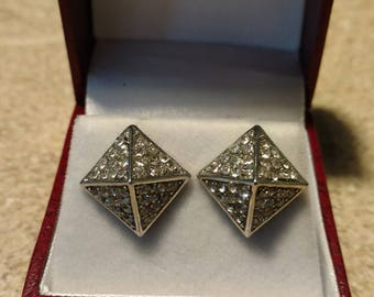 Vintage Silvertone Pyramid Earrings