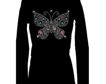 Butterfly Blue Pink Rhinestone Bling Long Sleeve O Neck Womens Tee Shirt