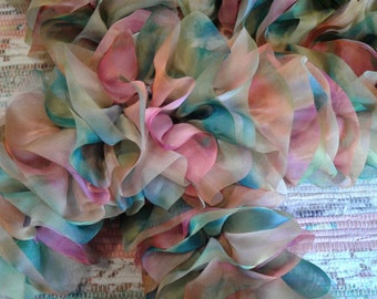 Pink and blue ruffle scarf