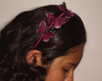 MONARCH II - 3 Red Feather Butterflies Headband, Butterfly Tiara, Fairy Wedding, Bridesmaids Set,  Spring, For Her