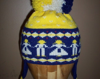 vtg Top Notch Knits winter cap childrens size usa oversized pom hat blue beanie touk yellow