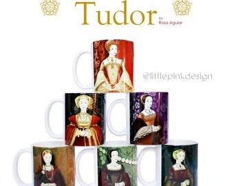 Set of six ceramic mug -  Henry VIII wives - Tudor Consort