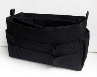 Tall and Wide Purse organizer with laptop padded and ipad compartment in Black