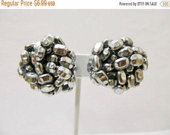 On Sale Vintage Grey Beaded Cluster Earrings Item K # 2579