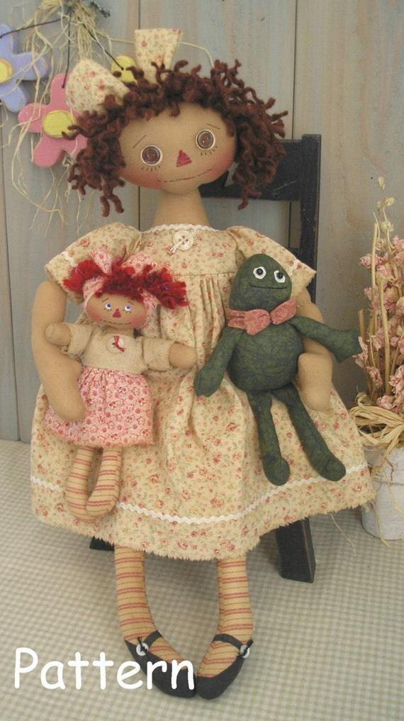 PDF E-Pattern #20 Primitive Raggedy Ann Doll Frog Mini Annie Folk ...