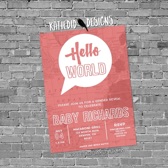 Travel theme baby shower invitation hello world map couples coed gender reveal neutral sprinkle sip see brunch girl | 1481c Katiedid Designs