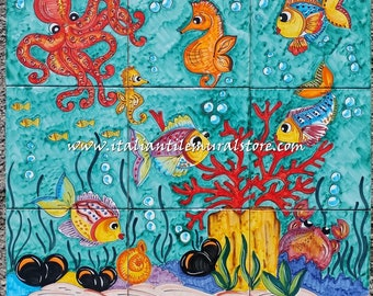 Sea Life - Baths Tile Art Ceramic Backsplash for Kitchen and Bath