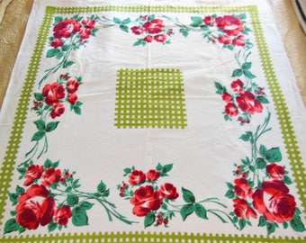 Vintage STARTEX Tablecloth Red Roses Green Chartruse Lattice Fence Fun Summer Time