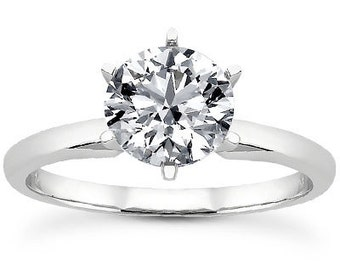 Engagement Ring - Classic - Solitaire - 1 Carat Round - Forever One  brilliant Moissanite   14K Gold - 6 Prong LJ1011