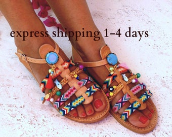 """Bohemian Leather Sandals/ Gladiator Sandals/ Spartan Sandals/ Handmade sandals/ friendships Sandals/ Boho Flats/ Strappy Sandals """"OLYMPIA"""""""