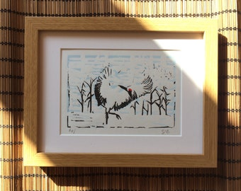 Crane Lino Print - Elegant Red-Crowned Crane Bird