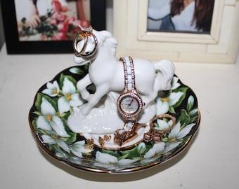 OOAK Mythical Unicorn Vintage White Trillium Floral Ring Dish