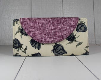 Bifold wallet | Long wallet, Womens wallet, Slim wallet, Rose wallet, Womens pocketbook, Elegant Wallet, Gift for women, Valentines gift