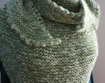 Big Green shawl knitted by hand