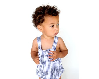 Boys Bubble Romper Blue Gingham Romper Gingham Baby Romper Preppy Baby Outfit Baby Shortall Toddler Shortall Seersucker Shortall Baby Boy