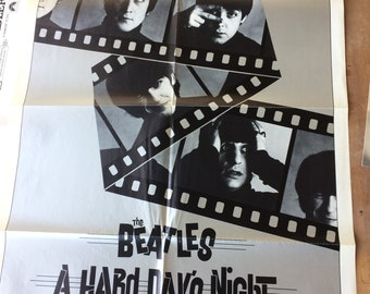 """Beatles """"A Hard Day's Night"""" original one-sheet movie poster, folded"""