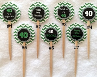 Set Of 12 Personalized 40th Birthday Party Cupcake Toppers (Your Choice Of Any 12)