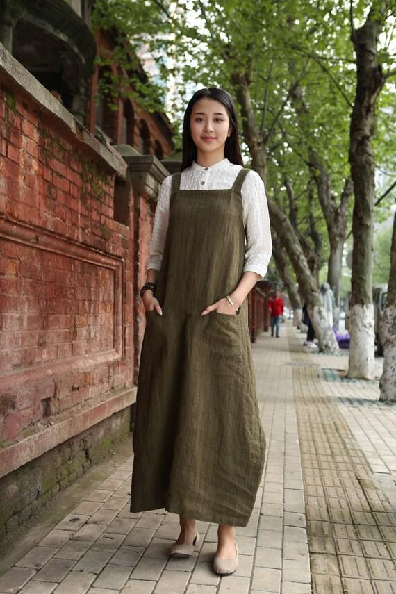 Linen Pinafore Dress Linen Apron Dress Linen Halter Dress