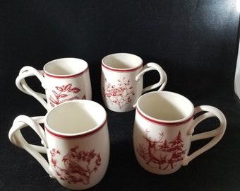 Set of Four Williams & Sonoma Mugs with Unique Handles