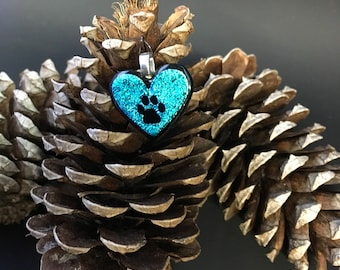 Turquoise heart pendant with paw print