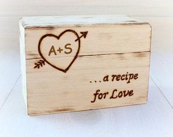 Wood Recipe Box - Farmhouse Recipe Box - Recipe Card Storage - 4x6 Recipe Card Box - Bridal Shower Gift - Persnalized Gift - Wedding Gift