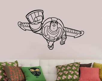 Toy Story Decal Buzz Lightyear Vinyl Sticker Disney Wall Art Decorations for Home Kids Boys Room Playroom Bedroom Movie Decor tsto3