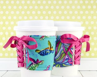 Turtle Cup Cozy // Swimming Turtles Cup Cozy // reversible // adjustable // cup sleeves // drink cozy // eco-friendly // reusable // corset