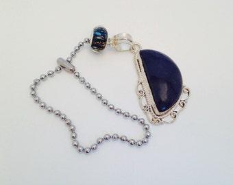 Lovely, Lapis Lazuli Fan Pull, set in heavy Sterling Silver