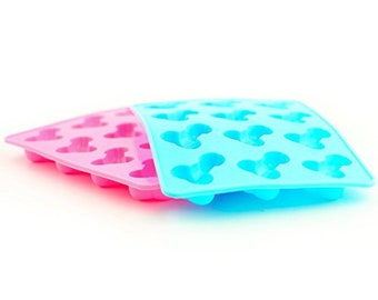 Happium 2x Flexible Willy Ice Baking Trays (1x Pink 1x Blue) Jelly DIY Penis Mould Happy Hen Night Party Adult Event Supplies