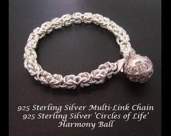 Harmony Ball Bracelet with Stunning 925 Sterling Silver Weave Link Chain and 925 Harmony Ball 'Circles of Life' | Pregnancy Gift 025