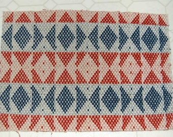 Americana Woven Antique Coverlet Blue Red Piece Nice 17 x 23