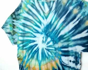 Aqua Blue Gray Green Ice Dyed Tee Shirt men's size XL