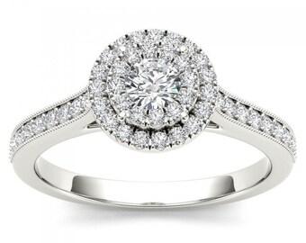 10Kt White Gold Diamond Engagement 0.50 Ct Halo Ring