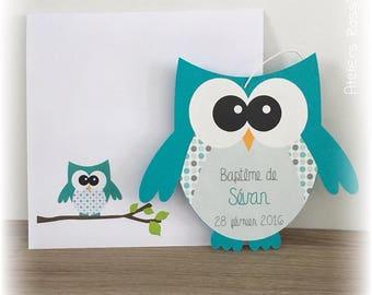 Invitation - shape menthol OWL birth announcement